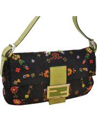 Fendi - Baguette Black Cloth Handbag - Lyst 4d8212ac8b0c4
