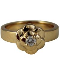 Chanel | Pre-owned Camélia Yellow Gold Bague | Lyst