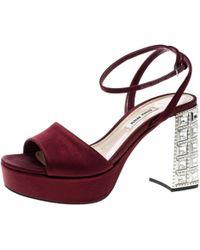bbf5448a4b1 Lyst - Miu Miu Crystal Block Heel Sandals in Natural