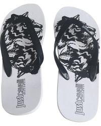 Roberto Cavalli White / Black Rubber Sandals