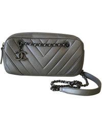 18f1b00f814 Chanel Grey Quilted Lambskin Medium Camera Bag in Gray - Lyst