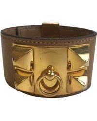 Hermès - Pre-owned Vintage Collier De Chien Brown Leather Bracelets - Lyst