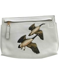 Loewe - T Pouch White Leather Clutch Bag - Lyst