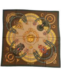 Hermès - Vintage Carré 90 Khaki Silk Silk Handkerchief - Lyst