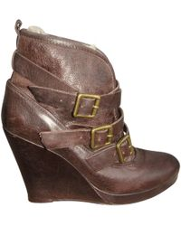 Maje - Leather Buckled Boots - Lyst