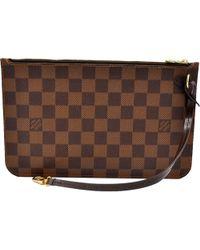 Louis Vuitton - Neverfull Brown Cloth Clutch Bag - Lyst