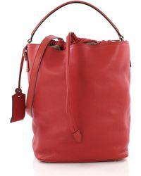 240a3d3d0383 Lyst - Burberry Penbury Small Mixedmedia Bucket Bag in Orange
