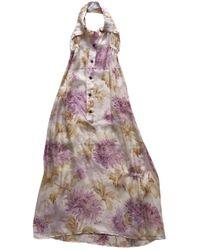 Dior - Beige Silk Dress - Lyst