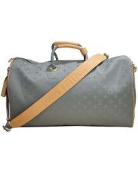 Louis Vuitton Keepall Grey Cloth Bag in Gray for Men - Lyst e7ea0b4369785