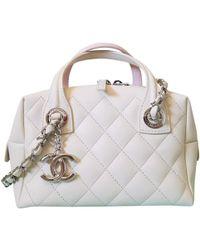 Lyst - Chanel Embroidery Bowling Bag Handbag Khaki Canvas A92791 in ... 283a6d783b53f