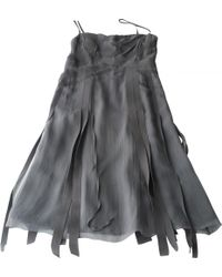 Chanel - Gray Silk Dress - Lyst