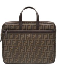 Fendi Borsa a mano in tela marrone Roll Bag