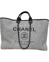 Chanel - Deauville Grey Cloth Handbag - Lyst