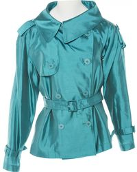 Jean Paul Gaultier - Pre-owned Vintage Turquoise Silk Trench Coat - Lyst
