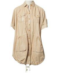 Dior - Beige Leather Dress - Lyst