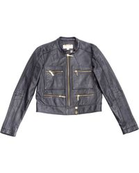 Michael Kors - Navy Leather Jacket - Lyst