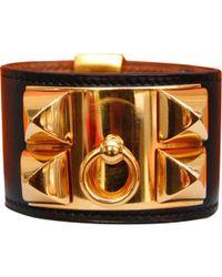 Hermès - Pre-owned Vintage Médor Black Leather Bracelets - Lyst
