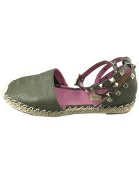 525fe17d3026 Lyst - Valentino Rockstud Ankle-strap Flat Sandal in Natural