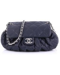 Chanel - Pre-owned Blue Leather Handbags - Lyst 766fb5b7c5b98