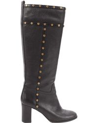 3527e92547e Tory Burch Leather Sarava Braid Detail Knee Boots in Purple - Lyst
