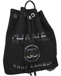 Chanel - Deauville Blue Cloth Backpacks - Lyst