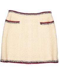 Chanel - Beige Tweed Skirt - Lyst