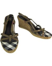 Burberry - Brown Leather Espadrilles - Lyst