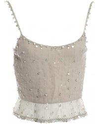 Chanel - Grey Silk Top - Lyst