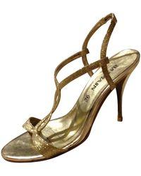 Balmain Gold Glitter Sandals - Metallic