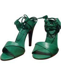 Hermès - Green Leather Sandals - Lyst