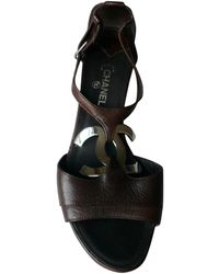 Chanel - Brown Leather Sandals - Lyst