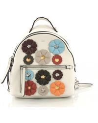ea16ae2bee13 Lyst - Fendi By The Way Mini Flower-appliqué Backpack in White