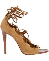 519266670da47 Tory Burch Patent Leather Cecile Block Heel Ankle Strap Sandals in ...
