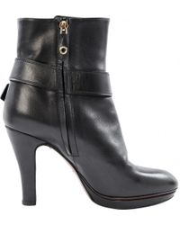 a4234926a Gucci Bee Print Heel Ankle Boots in Black - Lyst