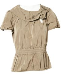 Louis Vuitton | Pre-owned Khaki Polyester Top | Lyst