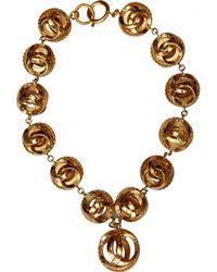 Chanel - Vintage Cc Gold Metal Necklace - Lyst