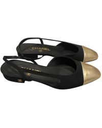 f2acb9c5b Lyst - Chanel Cloth Flip Flops in Black