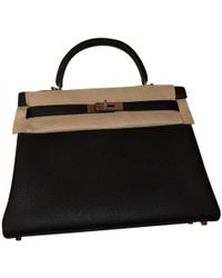 Hermès - Kelly 32 Black Leather Handbag - Lyst