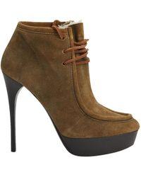 6e678b2fcac Lyst - Burberry Westmarsh Cutout Leather   Snakeskin Block-heel ...