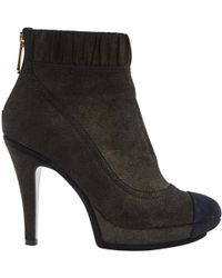 Chanel - Pre-owned Grey Cloth Boots - Lyst