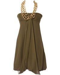 ab29e88e Lyst - Balmain Beige Silk Dress in Natural