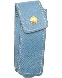 Hermès - Pre-owned Vintage Blue Leather Purses, Wallets & Cases - Lyst