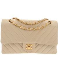 Chanel - Vintage Timeless/classique Beige Leather Handbag - Lyst
