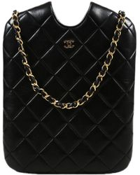 Lyst - Chanel Pre-owned Leather Crossbody Bag in Black 0c38889f4bab1