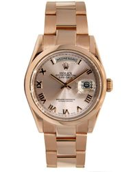 Rolex - Pre-owned Oyster Perpetual 36mm Metallic Pink Gold Watches - Lyst