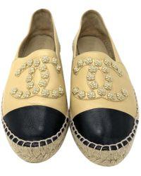Chanel - Beige Leather Espadrilles - Lyst