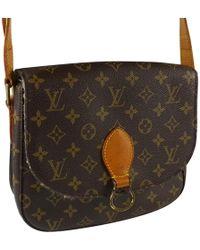 87c6a60859bd Lyst - Louis Vuitton Pre-owned Saint Cloud Cloth Crossbody Bag in Brown