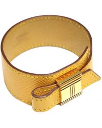 Hermès - Pre-owned Vintage Artemis Yellow Leather Bracelets - Lyst