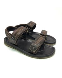 7a5cca62cdf0 Louis Vuitton Pre-owned Leather Sandals in Black for Men - Lyst