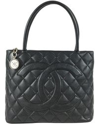 Chanel - Vintage Médaillon Black Leather Handbag - Lyst
